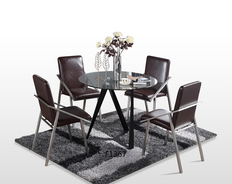 Chairs Meta Frame Dining Table Set, Round Glass Dining Table Set 4 Chairs