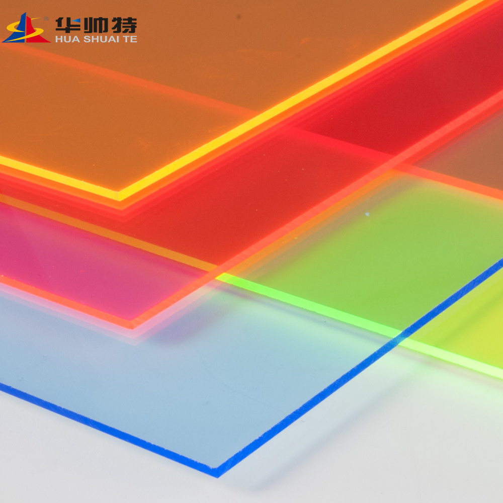 China Huashuaite Fluorescent Yellow Cast Acrylic Sheet Plxiglass China Acrylic Sheet Color Acrylic Sheet