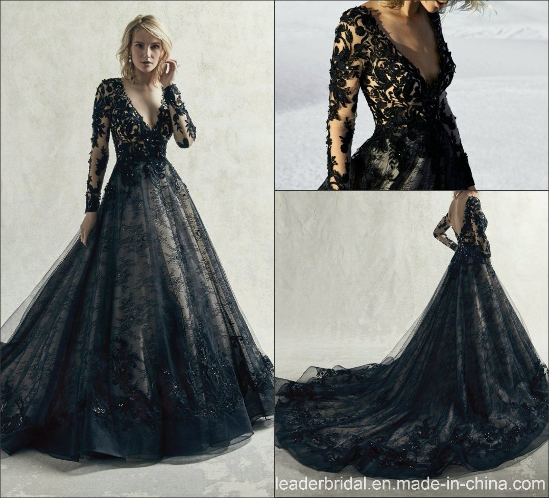 China Long Sleeves Wedding Dress Custom Made Lace Princess: China Black Bridal Gown Cathedral Tail Long Sleeves Lace
