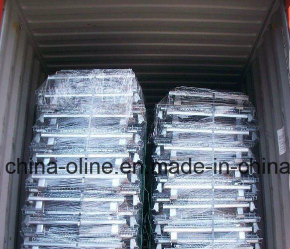 Stackable Folded Wire Mesh Wheeled Cart for Transportation pictures & photos