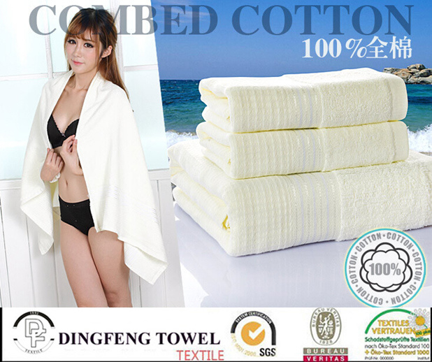 2016 Hot Sales 100% Organic Cotton Jacquard Bath Towel with Satin Border Df-S283
