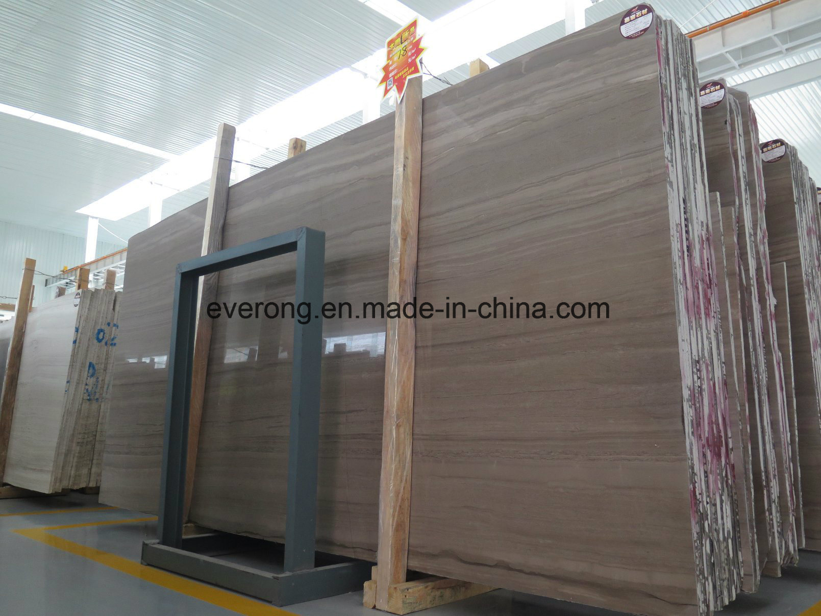 China Coffee Brown Wood Grain Marble Cut To Size For Floor Tiles