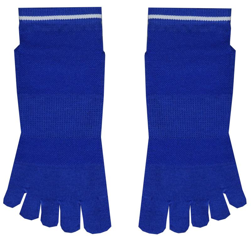China Blue Knitted Pattern Custom Antislip Toe Yoga Socks China
