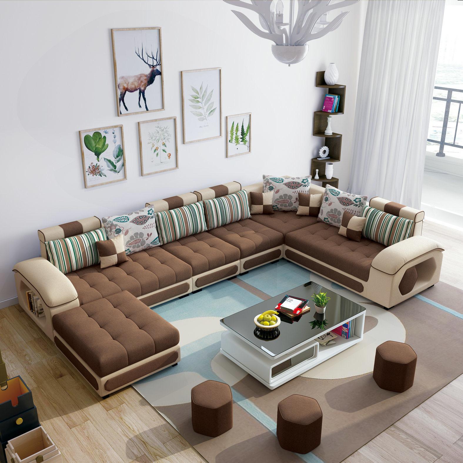 [Hot Item] Brown Color U Shape Home Furniture Modern Fabric Sofa (S889)