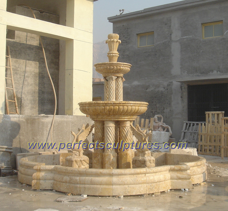 China Antique 3 Three Tier Stone Marble Pedestal Water