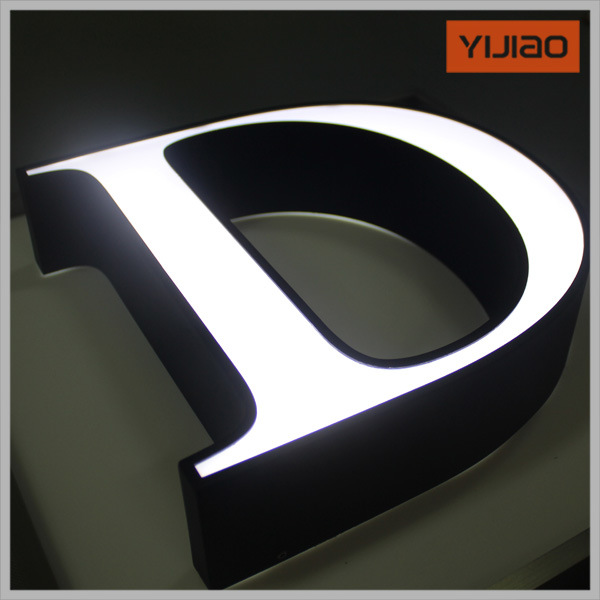 Front Lit Channel Letter with Black and White Board Black in Daytime White in Night