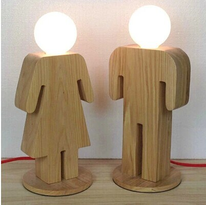 China Wood Energy Saving Desk Light Girl Boy Shape Modern Table Lamp ...