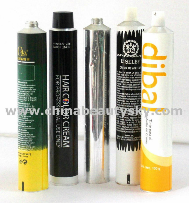 Onsert Sealed Tip Hair Color Cream Packaging Aluminum Collapsible Tubes