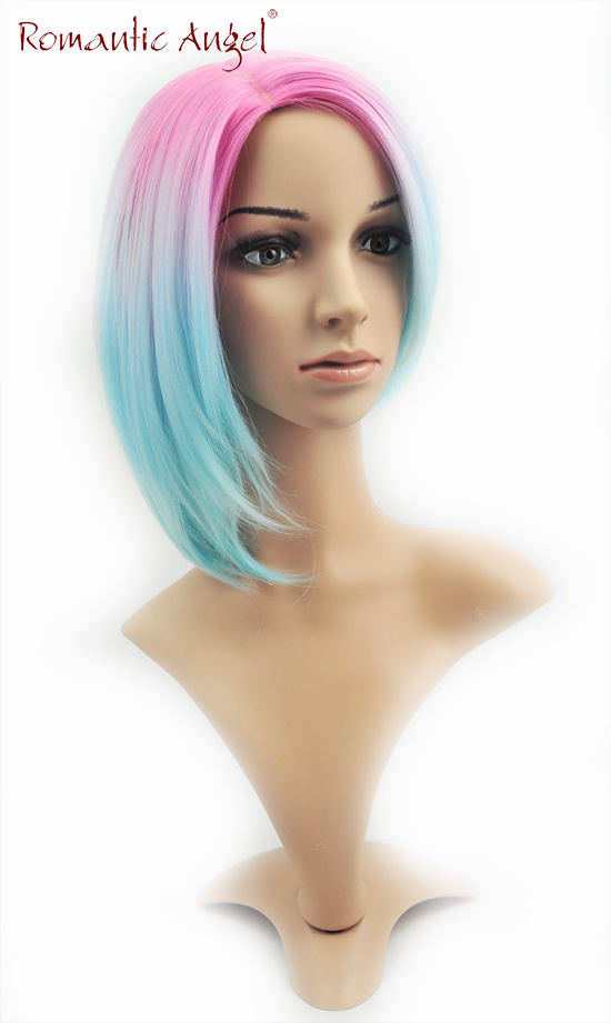 Dyecolor Synthetic Pink and Blue Fushion Short High Quality Kanekalon Wig pictures & photos