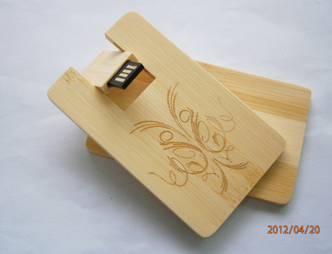 Bamboo/Maple Wood Slim Card 8GB USB Flash Drive Pen/Portable Storage GIF