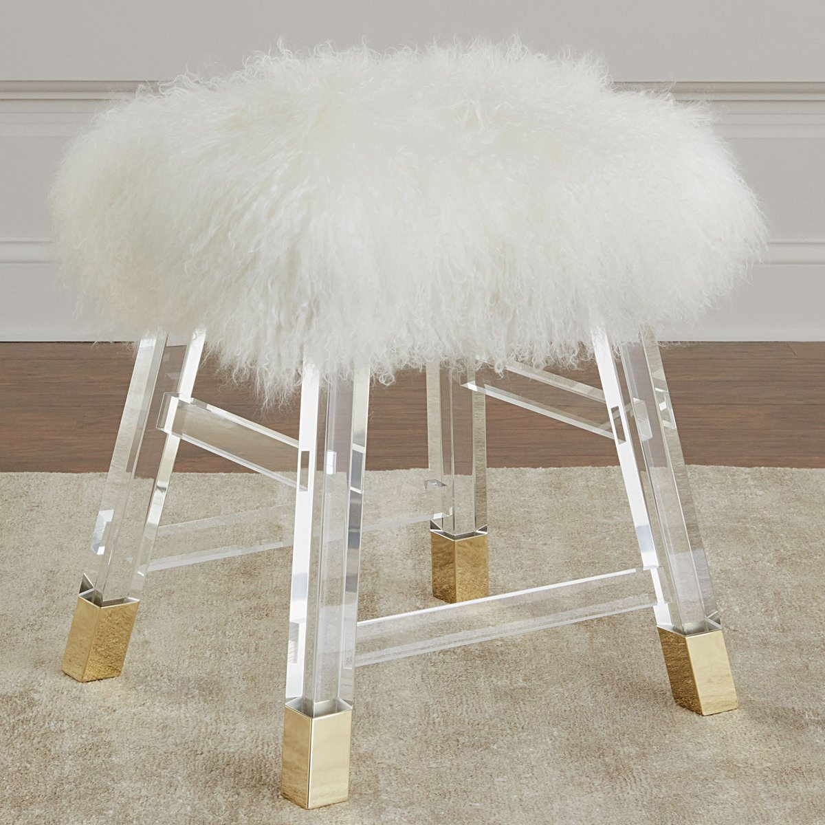 Ava White Faux Fur Ottoman Modern Acrylic Stool Upholstered Living Room  Entryway Bedroom