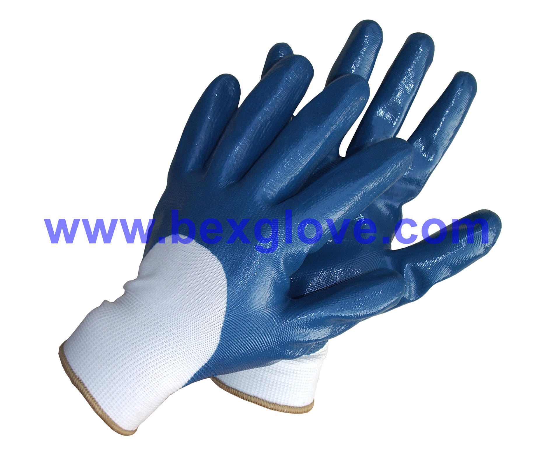 13 Gauge Polyester Liner, Nitrile Coating, 3/4, Smooth Finish Safety Gloves