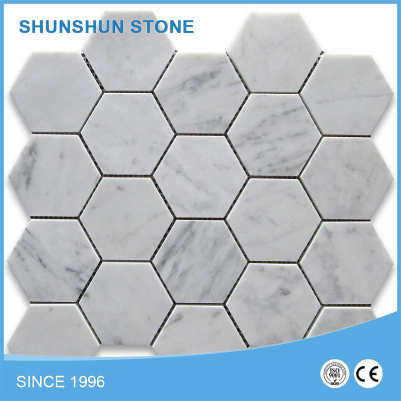 White Carrara Marble Mosaic Tiles for Interior Floor and Wall, Bathroom and Shower pictures & photos