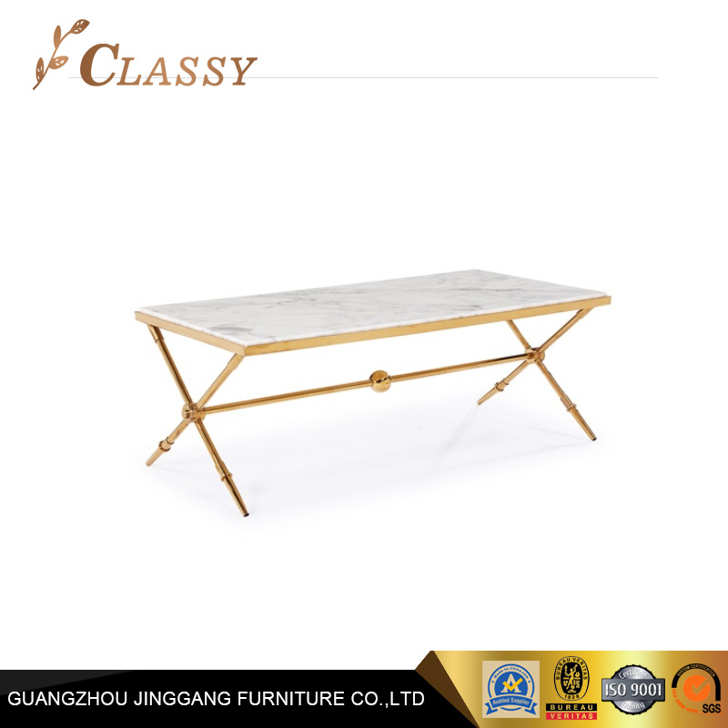 China Rectangular Shape Marble Table Top Metal Golden Base Coffee Table    China Stainless Steel Table, Coffee Tables