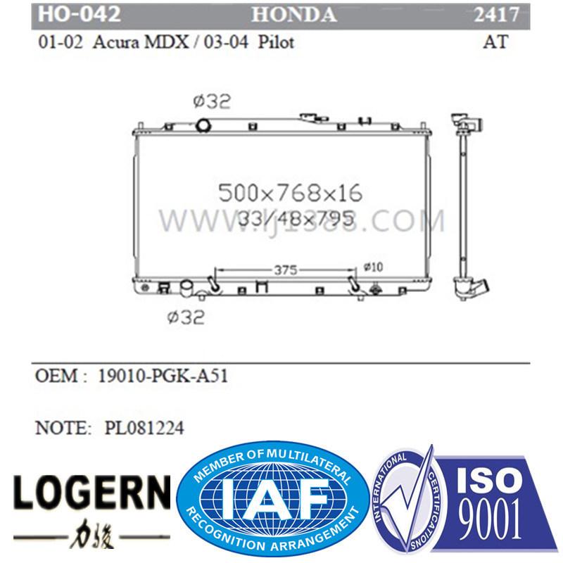 Ho 042 Motorcycle Parts Radiator For Honda Acura Mdxu203201 04/Pilotu203203 04 At  Dpi: 2417