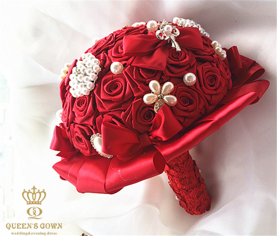 China Diy Handmade Silk Roses With Rhinestone Pearl Bridal Bouquet