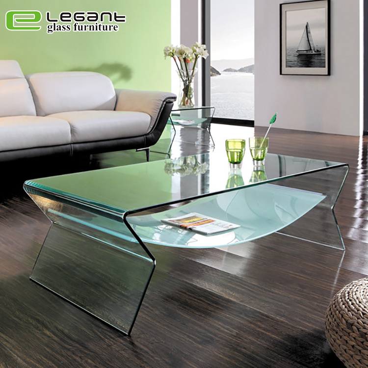 China Clear Bent Glass Coffee Table With Frosted Shelf China