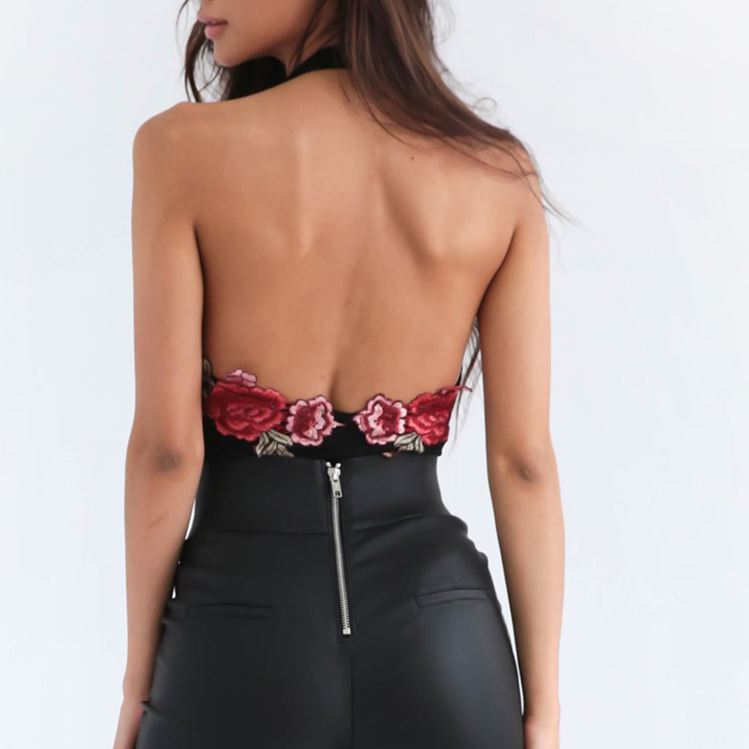 Fashion Women Sexy Embroidery Hollow Backless Jumpsuits Club Bodysuit Blouse
