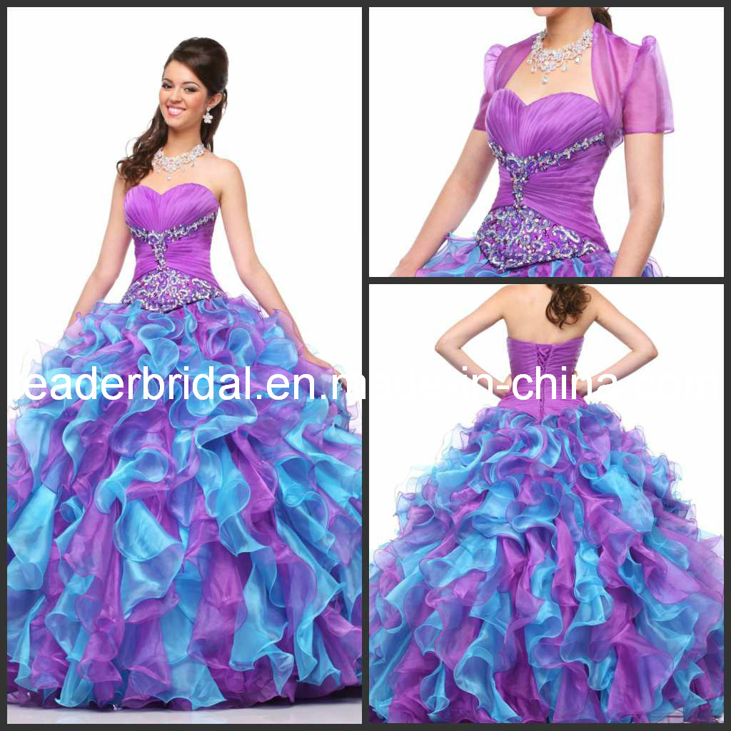 China Organza Quinceanera Dresses Blue Purple Ball Gown