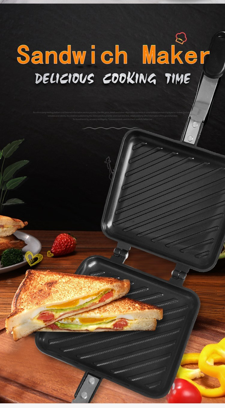 Double Sided Sandwich Frying Pan Flip Non Stick Bread Cooking Toast Baking Pan