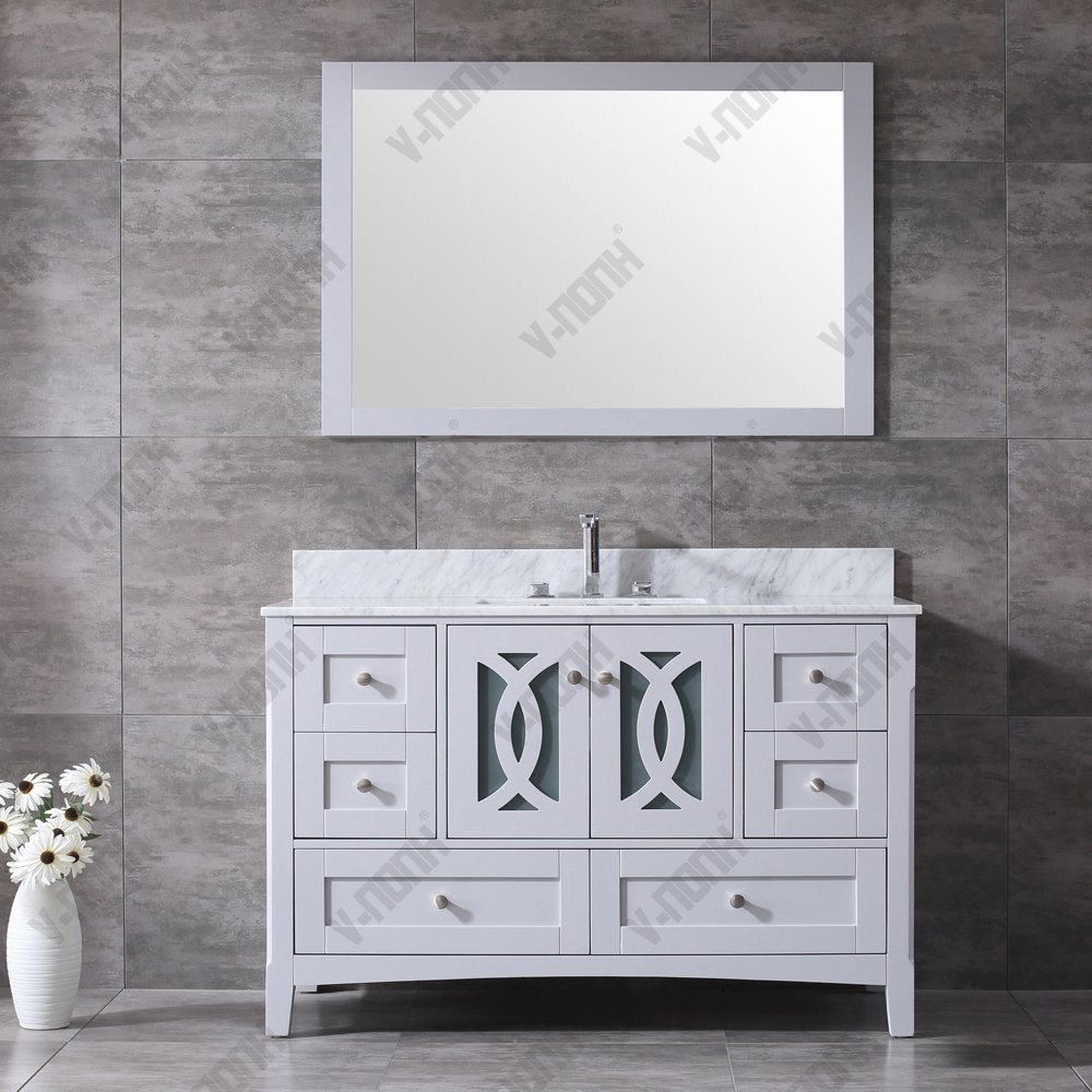 Grey Bathroom Cabinet With White Marble