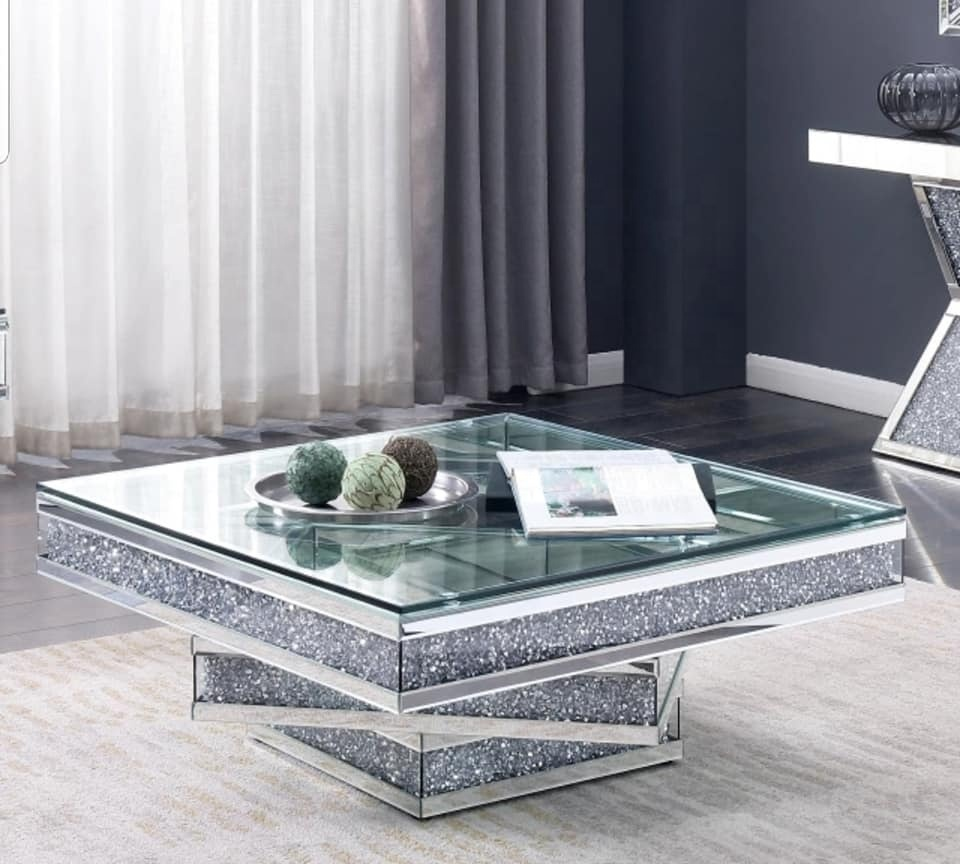 [Hot Item] 12 New Hot Design Crushed Diamond Mirrored Furniture Coffee  Table
