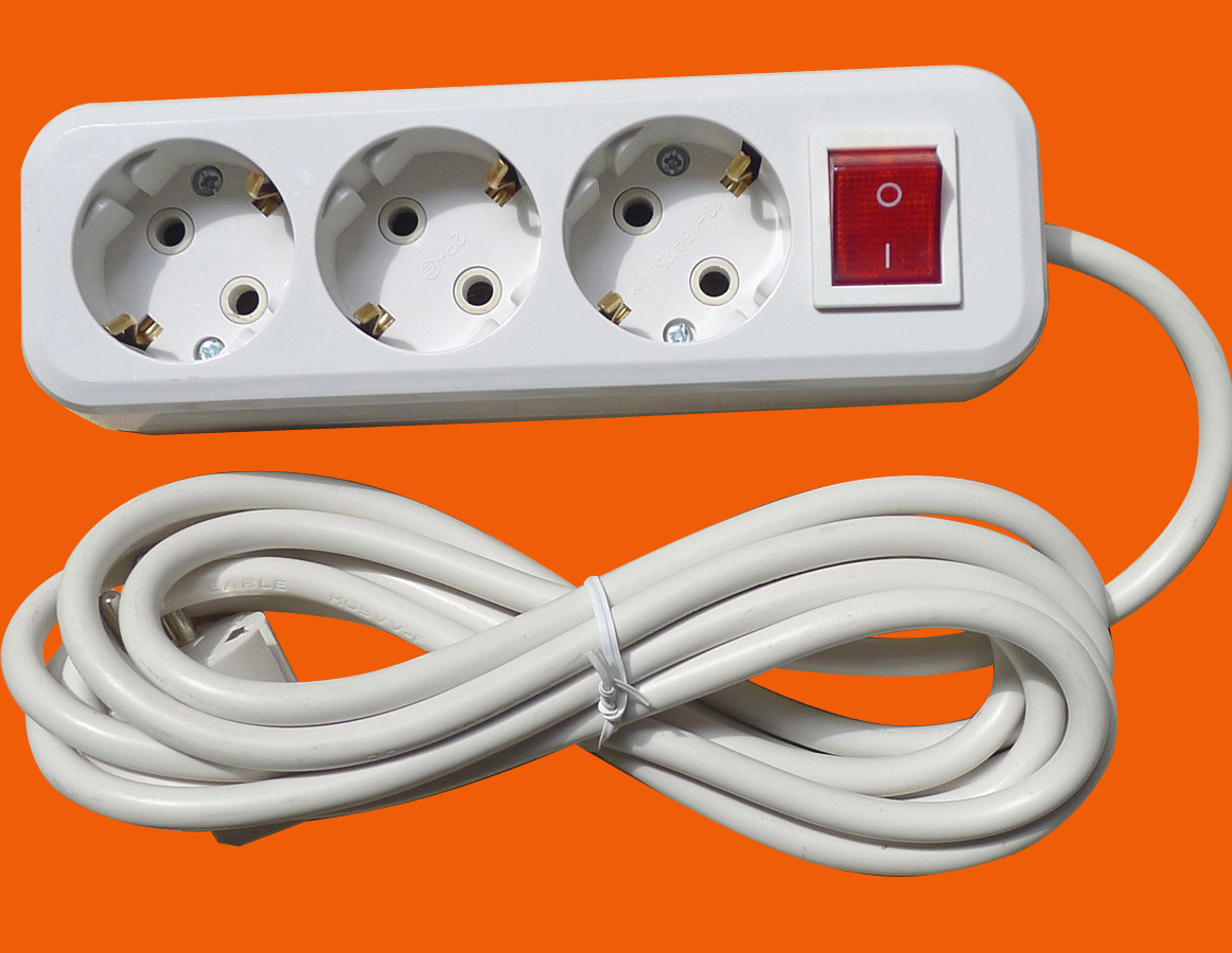 China White Colour 3 Outlet Socket With On Off Switch 3g075x3m Wiring Electrical E8003es Power Strip