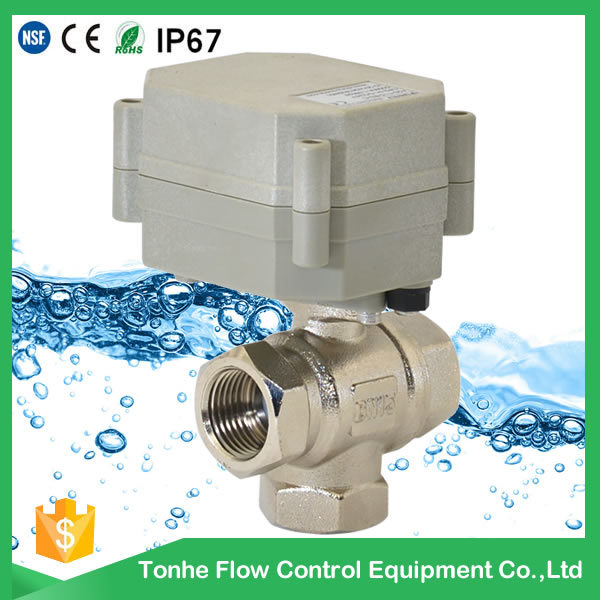 3/4′′ 3way Electric Actuator Brass Ball Valve for Automatic Control (T20-B3-B)