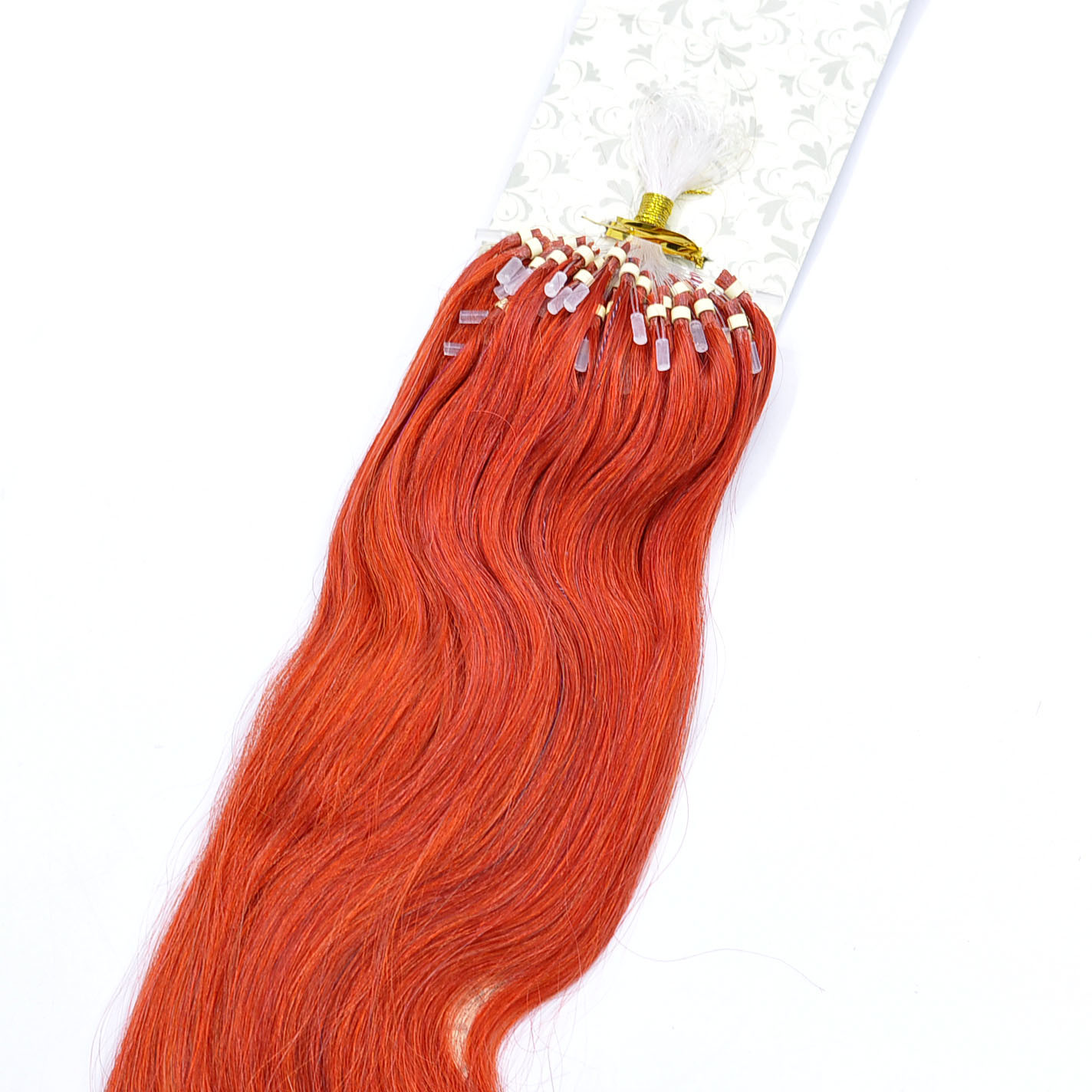 China Shiny Red Color Micro Ring Loop Remy Human Hair Extensions