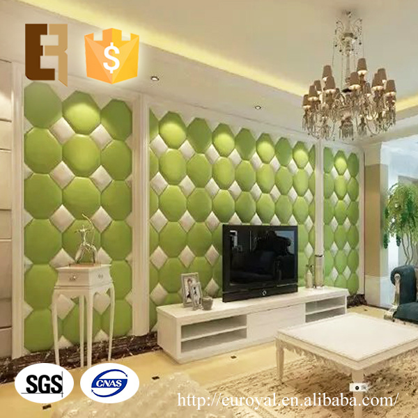 China Drawing Room TV Wall Backdrop Decorative 3D Leather Wall Panel ...