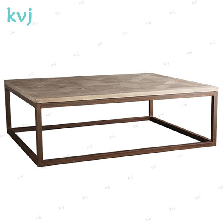 Hot Item Kvj 7356 Rectangle Steel Base Recycled Elm Wood Coffee Table