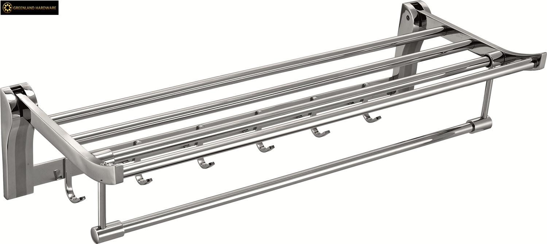 China Stainless Steel Bathroom Accessories Towel Rack with Hangers - China Towel Bar, Towel Rack