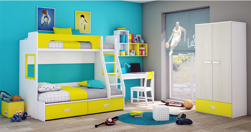 Popular Design Bunk Bed Colorful Children Kids Bedroom Furniture (GAUSS)
