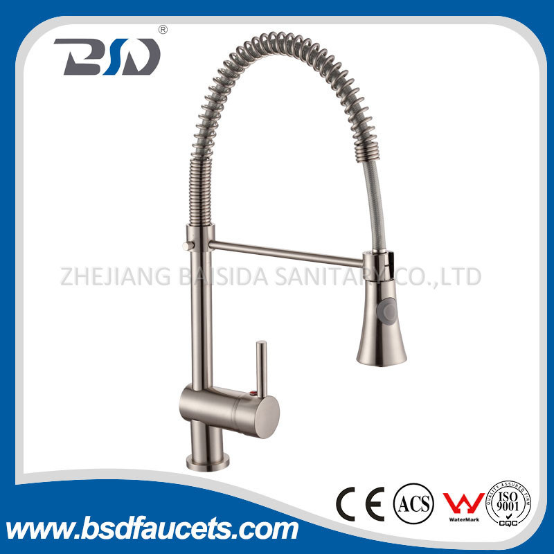Chinese Solid Brass Pull out Spray Spring Kitchen Faucets Photos ...