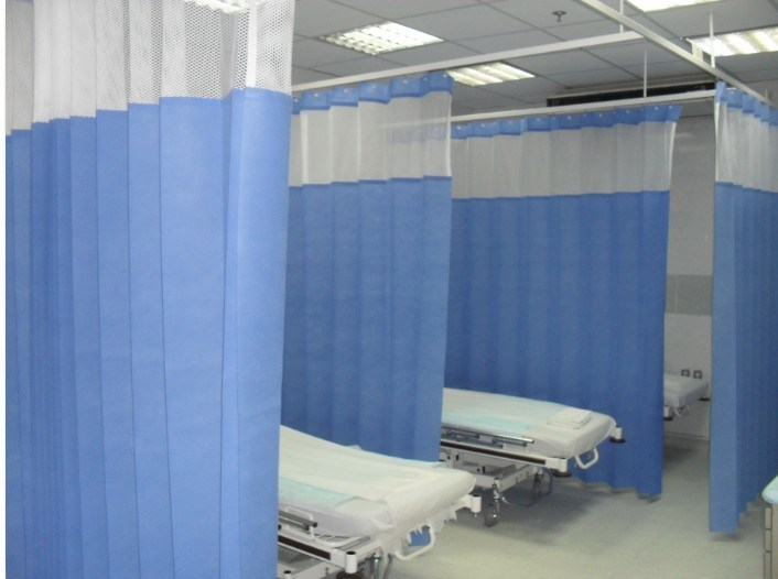 China Pure Color Hospital Disposable Curtain With Mesh