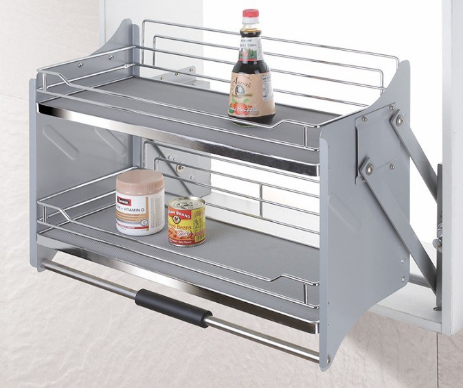 Pull Down Wall Cabinet Basket