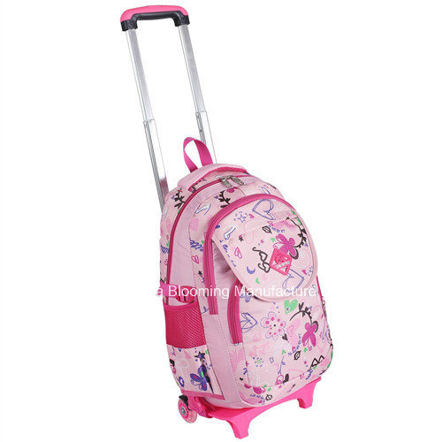 Students Lovely Rolling School Backpack Wheel Book Bag Trolley Bag