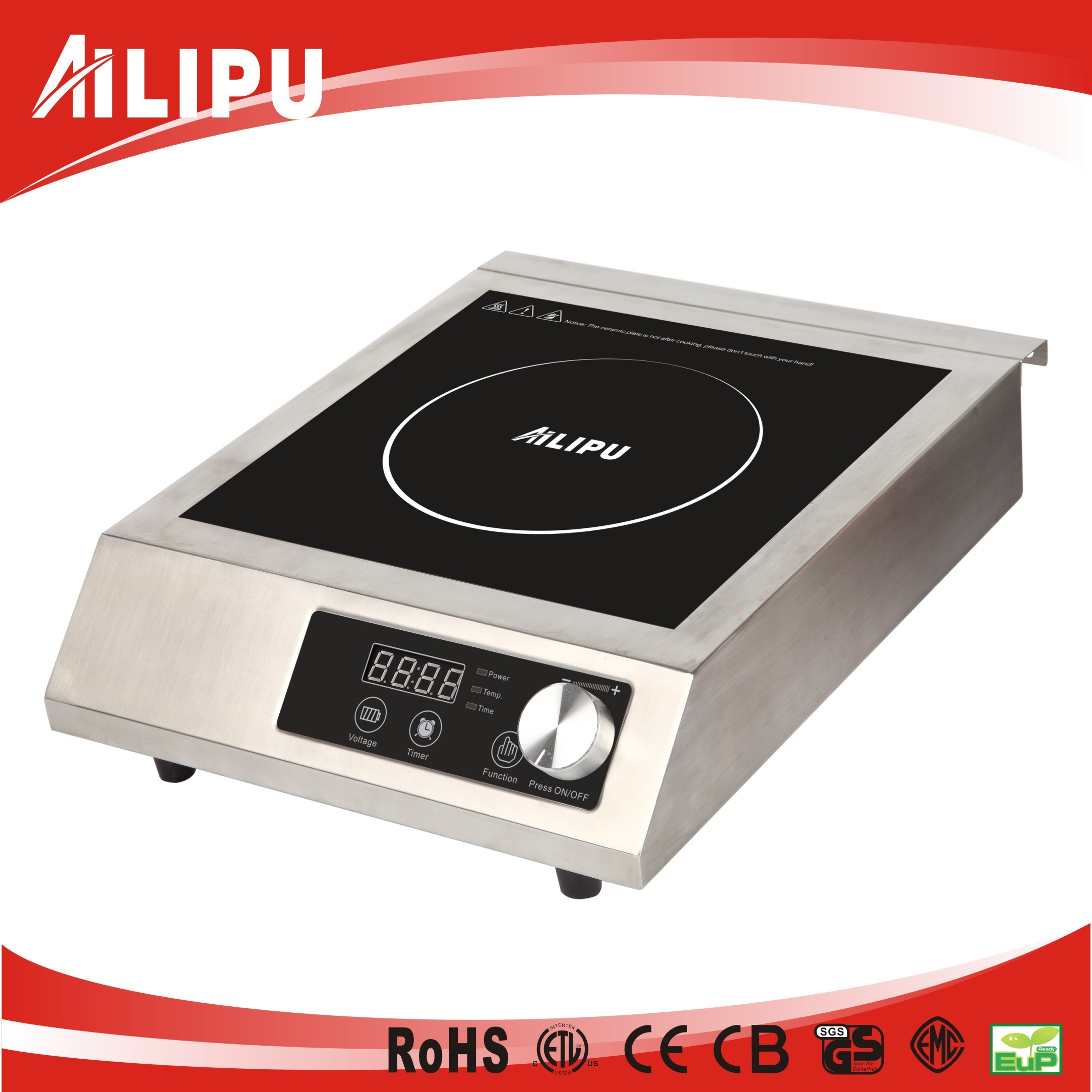 Stainless Steel Commercial CE ETL 120V, 3500W 1800W induction stove for USA Spain Italy Russia