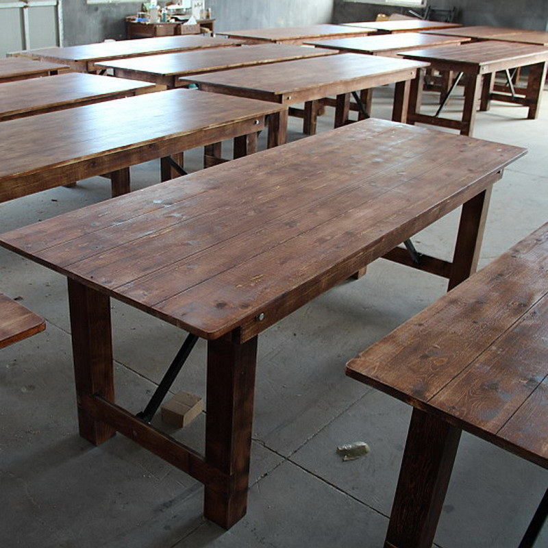 Hot Item Outdoor Rustic Antique Color Pine Wood Folding Farm Table For Garden
