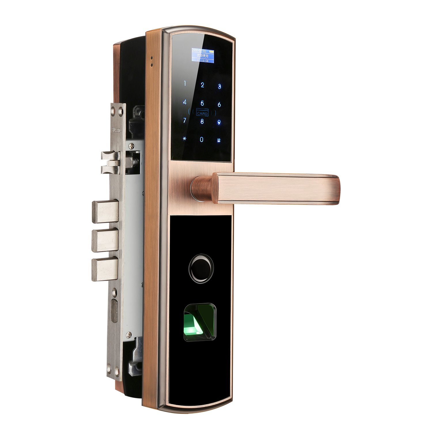 China Electronic Fingerprint Smart Enabled Keyless Cylinder Door Gold Digital Keypad Lock With Ce Certifictation