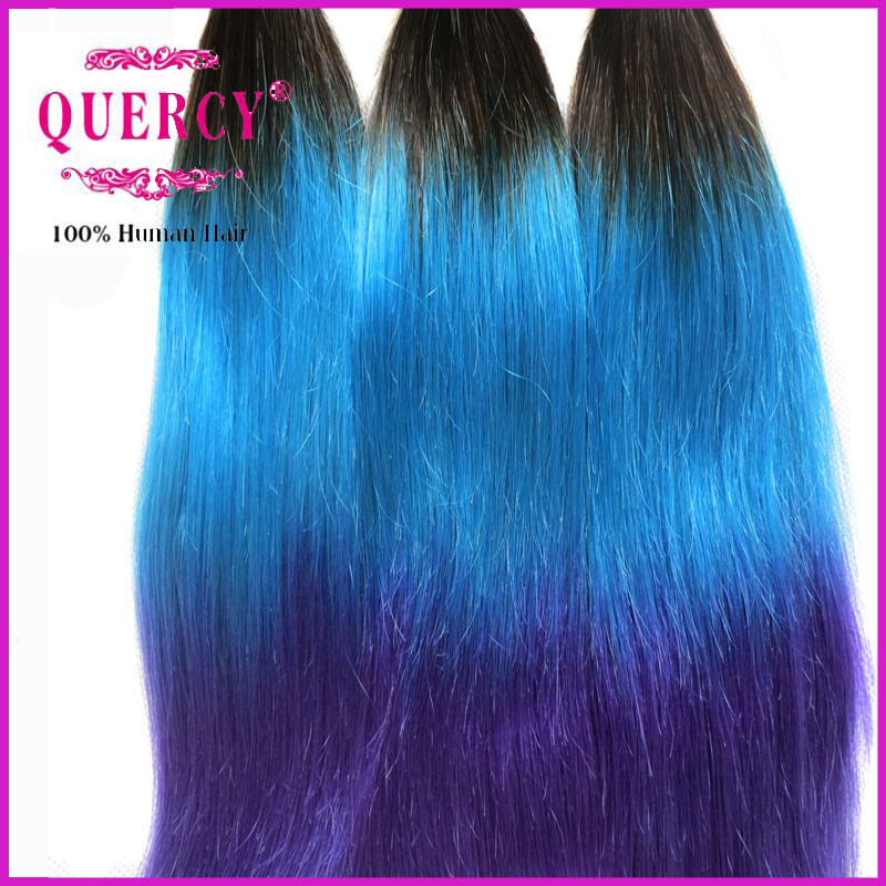 Very Soft and Thick 100% Virgin Human Hair Colored #1b/ Blue/Purple Hair Extensions pictures & photos