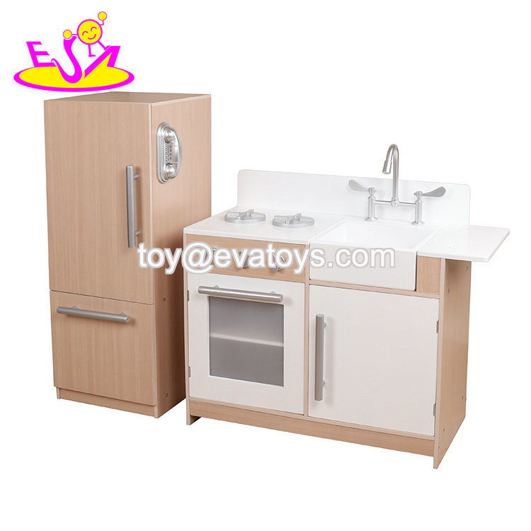 China Most Popular Kids Wooden Play Kitchen With Refrigerator