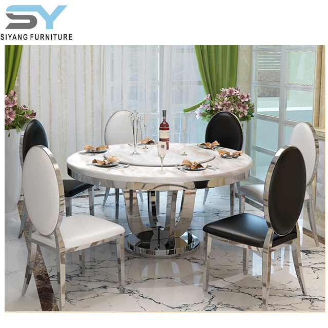 China Livining Roon Furniture, Round Marble Table Dining Set