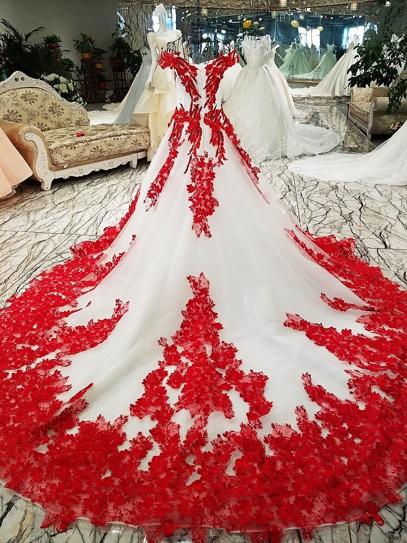 China Lace Wedding Ball Gown Red Ivory Bridal Wedding Dress Ld1162 ...