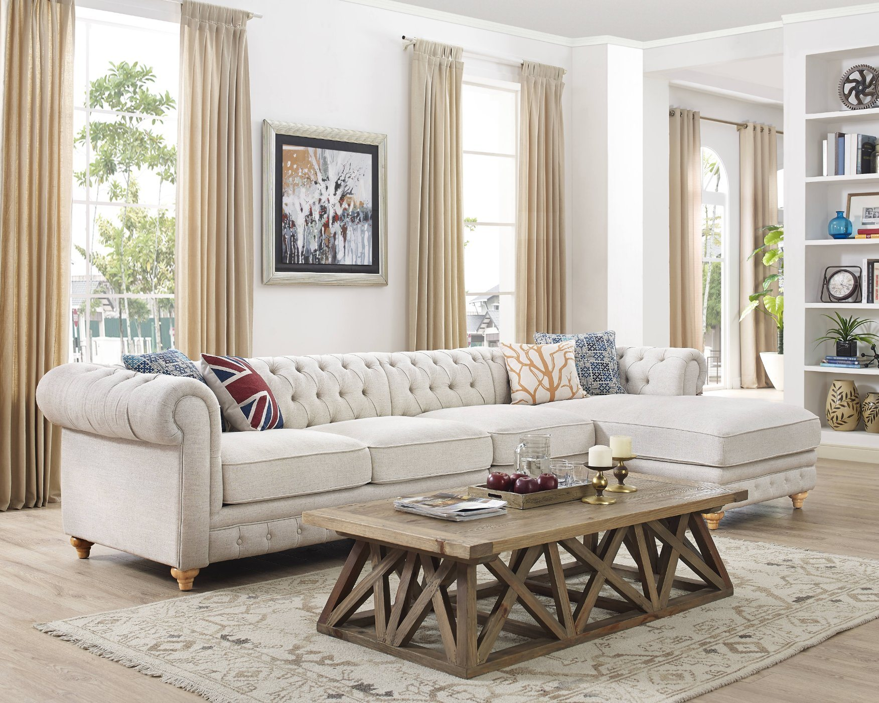 China Modern Living Room Wood Frame Genuine Bonded Leather Chesterfield Sofa China Tufted Sofa Studio Couch