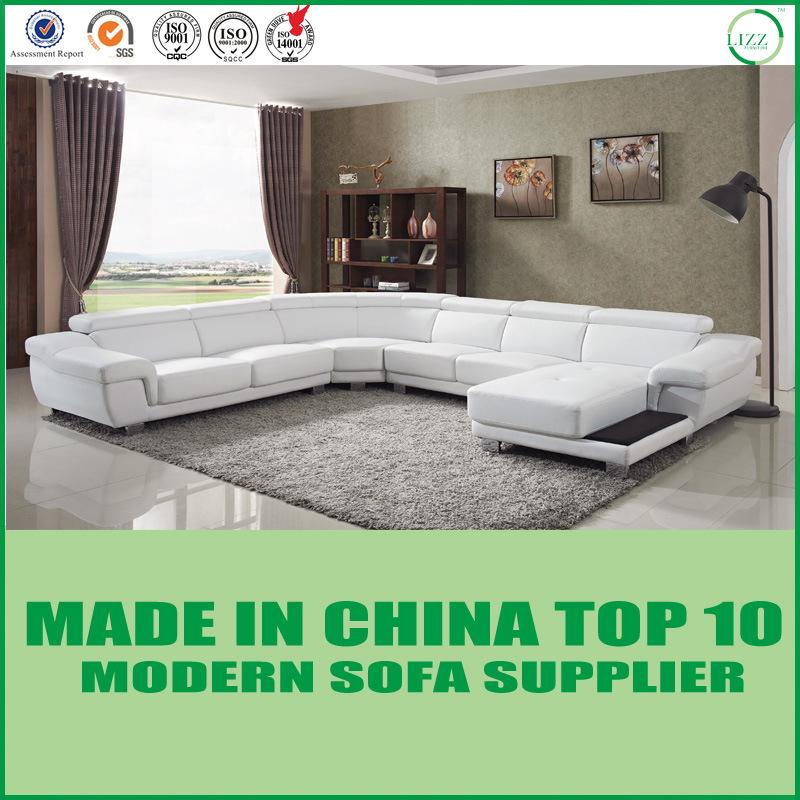 Hot Item Modern Living Room White Leather Sofa