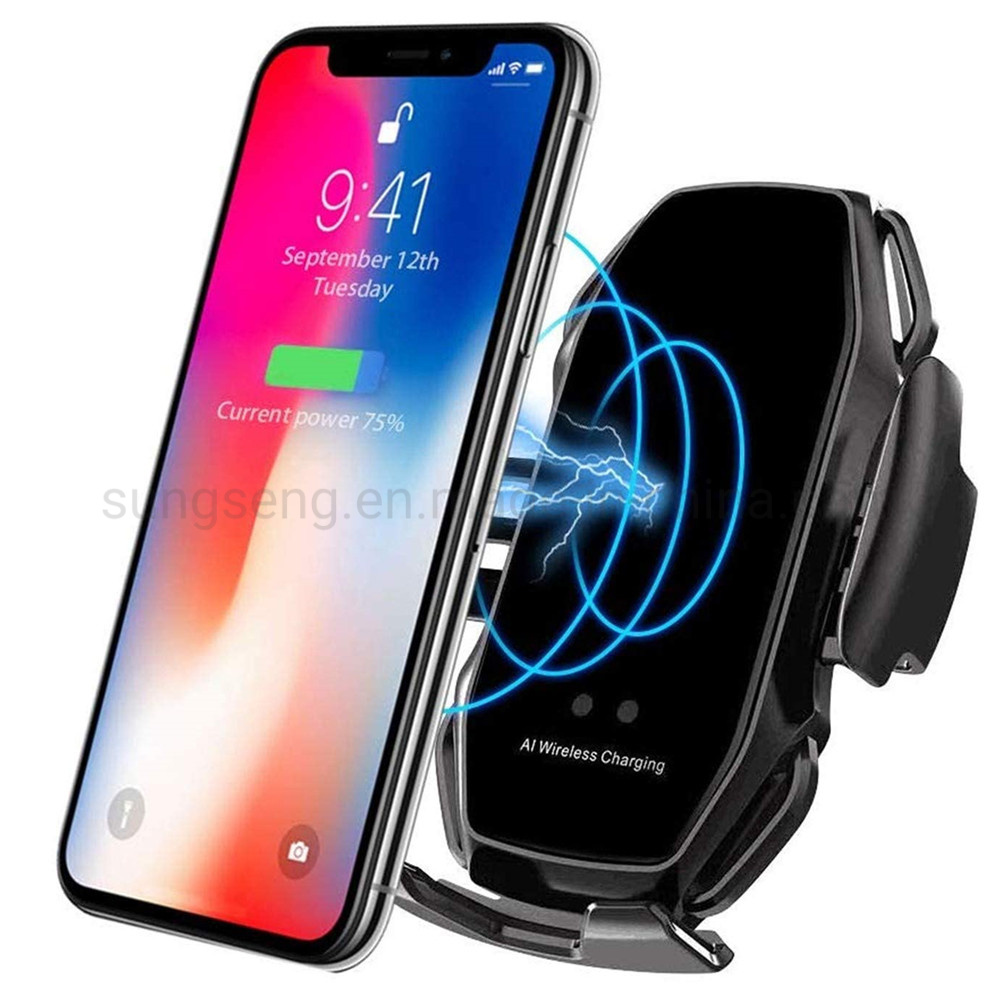 Samsung S9//S8//Note8 Gold Wireless Car Charger 10W Fast Charging Car Mount Touch Sensing Automatic Retractable Clip Fast Charging Compatible for iPhone Xs Max//XR//X//8//8Plus