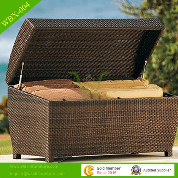 Hot Item Pe Rattan Outdoor Garden Cushion Storage Box With Lid