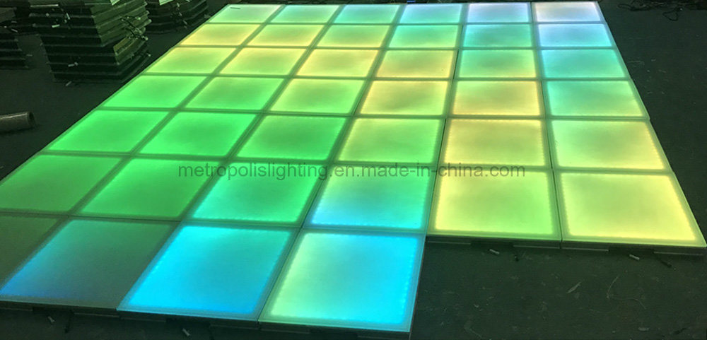 China Tempering Glass Rainbow Effect Led Dance Floor For Club Disco