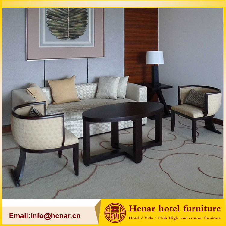 [Hot Item] Wooden 3 Seat Living Room Chair Couch Sofa Set for Hotel